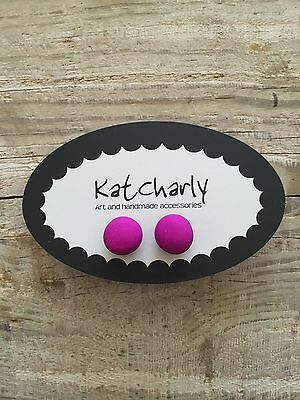 Bright Violet Clay studs fashion jewellery