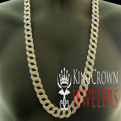 Mens Iced Out Lab Diamond Miami Cuban Link 14k Yellow Gold Finish Chain Necklace
