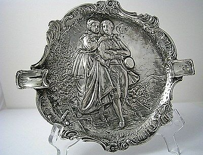 GERMAN SOLID SILVER ASHTRAY TRAY Germany c1900s Israel Import c1950s Excelt Rare