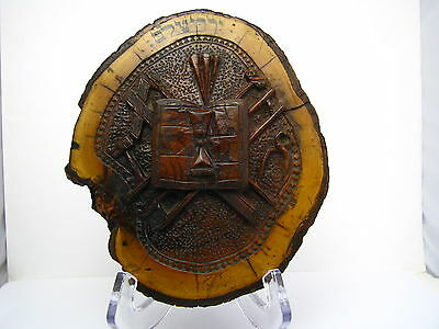 A CARVED OLIVE WOOD PLAQUE Middle East Palestine Jerusalem ca1900s Judaica Rare!