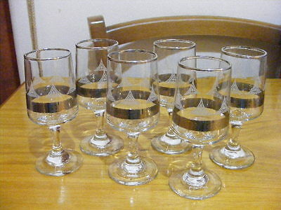 Vintage Sherry Glasses with Silver detailing