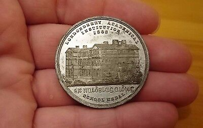 Rare Irish Ulster Token Londonderry Academical Institution 1868 Medal Coin Derry