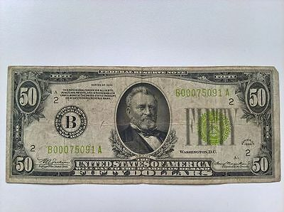 1934 Series $50 Fifty Dollar New York Federal Reserve Bank Note