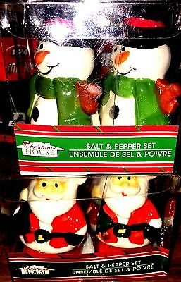 Salt & Pepper 2 Sets Santa & Snow Man Holiday Special Release Collectable