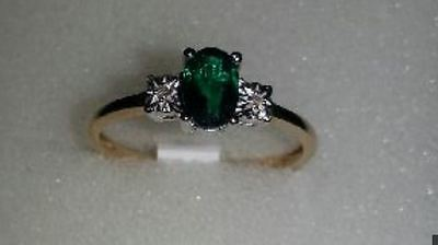 solid 9ct Gold Diamond and emerald ring size N