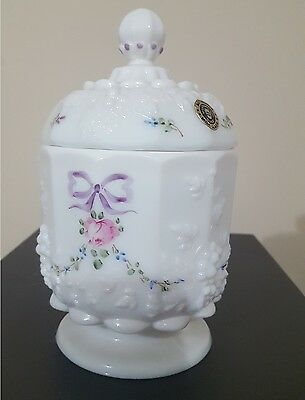 Westmoreland milk glass covered candy / pink flower, embossed grapes