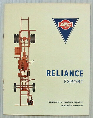 AEC RELIANCE EXPORT Bus Coach Chassis Sales Brochure Aug 1962 #724.8.62