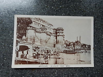 Early Real Photo Postcard-Banares Mosque and Ghat -Varanasi India