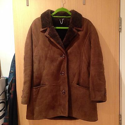 Vintage Unisex Sheepskin Brown Coat Retro Hipster Original