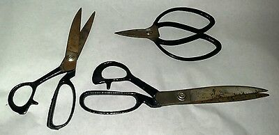 3pc Antique vtg tailor dressmakers sowing sissors shears