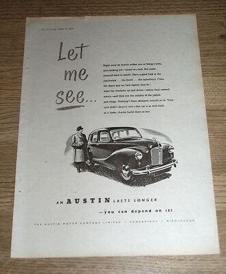 AUSTIN  - lasts longer -   21 x 29 cm  ORIGINAL MINI POSTER SIZE ADVERT 1950