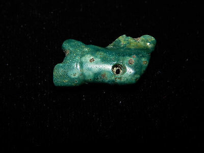 Pre-Columbian Blue Jade Carved Pendant Bead,  Authentic 100%