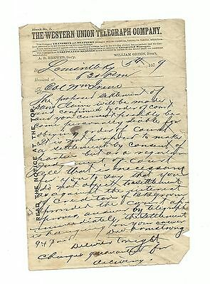 Western Union Telegraph Co. 1879 Telegram Wire Lawyer Court Settlement Paper Old