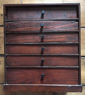 Small antique collectors/specimen cabinet 6 drawers