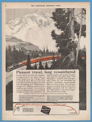 1924 Chicago Milwaukee & St Paul Railway The Olympian Electric Train Railroad Ad