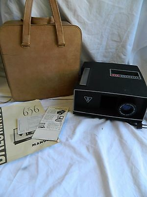 Vintage Bausch & Lomb Balomatic 656 Slide Projector w/ Case and Manual