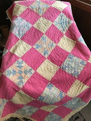 """VINTAGE ANTIQUE HAND SEWN PATCHWORK FEED SACK QUILT CUTTER 60x76"""""""