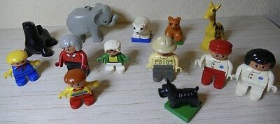 Collection of 13 Duplo figures people and animals