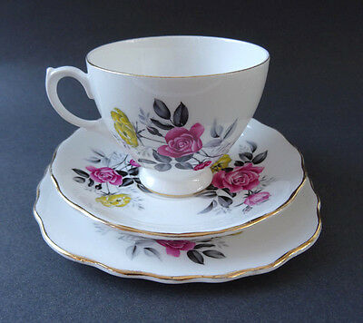 Vintage Royal Vale Bone China Tea Cup Saucer Plate Trio Yellow Pink Rose 50s