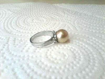 Fab  Vintage Ring With Big Faux Champagne Pearl