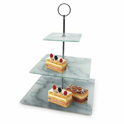 3 Layer Square Marble Looking Cake Stand