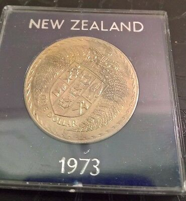 1973 New Zealand one dollar coin in plastic case