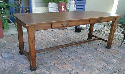 Antique French Country Farm Dining Table Provence Old Oak 2 Drawers Provence Old