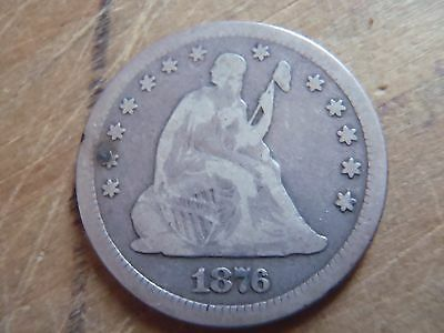 Very Good and Unique Looking 1876 Seated Liberty Quarter!