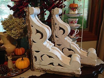 WOW! Two Large 1800's Antique Vintage Architectural Salvage Corbels White Chippy