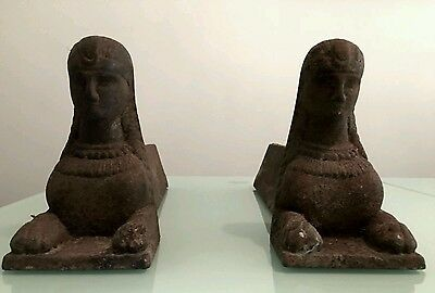 Antique French Iron Cast Firedogs Andirons Mid 19Th Century Egyptian Sphinx