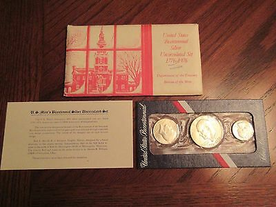 B27 United States Bicentennial Silver Uncirculated Set 1776-1976-3coins
