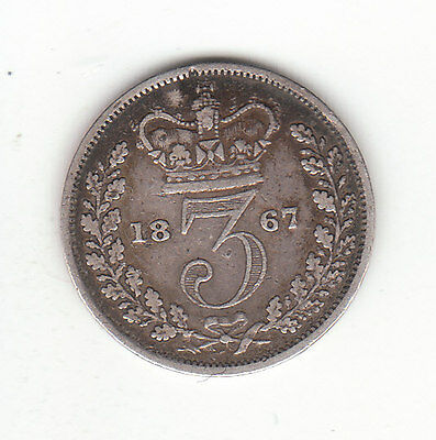 1867 Great Britain Queen Victoria Silver Threepence.  Very Low Mintage.
