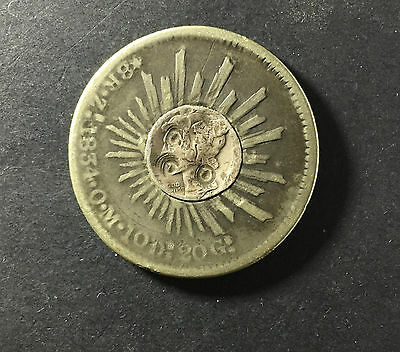 1834 Mexico Real Coin With A Cut Down  Mercury Dime Set In The Center Of Obverse