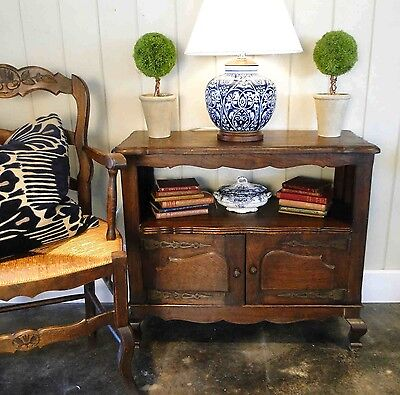 Antique French Side Table Bookshelf ~ Tiger Oak Original Hardware ~ Cabinet old