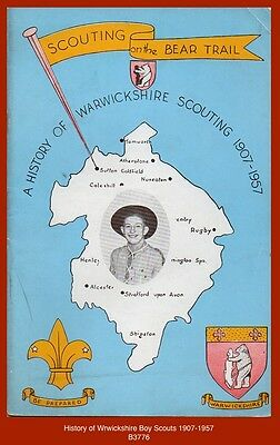 """""""HISTORY OF WARWICKSHIRE SCOUTING 1907-1957"""" - 1957 Boy Scout Book"""