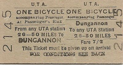 U.T.A. Edmondson Bicycle Ticket - Dungannon to any U.T.A. station 25 - 50 miles