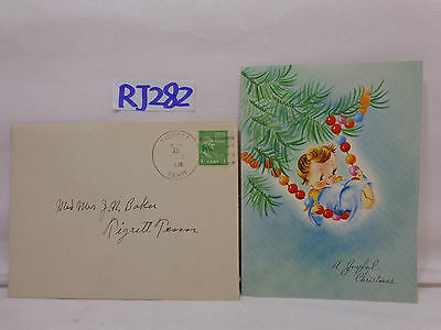 Vintage Christmas Card-Envelope-Stamp 1947 40's Baby Angel In Tree On Beads