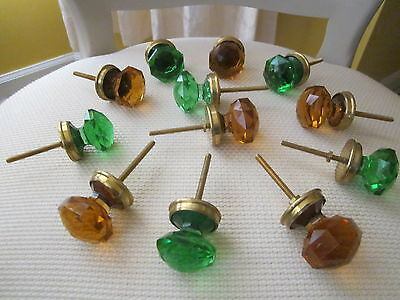 "12 Cut Glass knobs, Amber/Green , Dome  1.1/2"" x 1"" H, with brass base & screw"