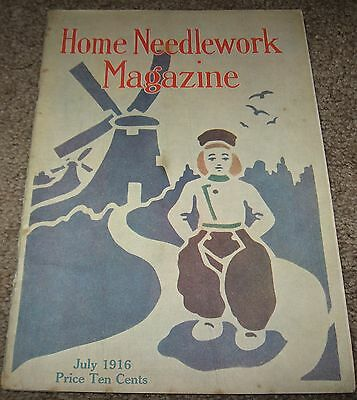 Home Needlework Magazine - July 1916 - Crochet Embroidery - Good Condition