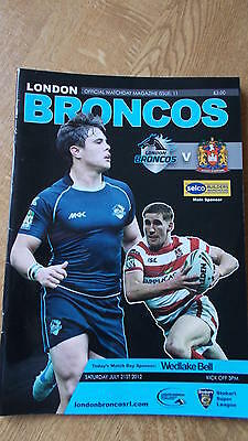 21.7.12 London Broncos v Wigan Warriors programme