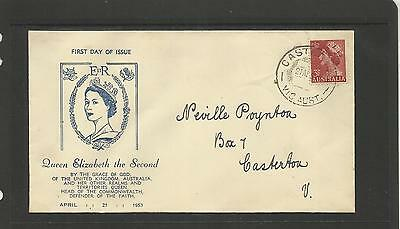 AUSTRALIA FDC FIRST DAY COVER ~ 1953 QE II DEFINITIVE 3 1/2d