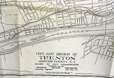 Original 1927 Map Of Trenton NJ & Surrounding Suburban Region Ewing Hamilton Twp