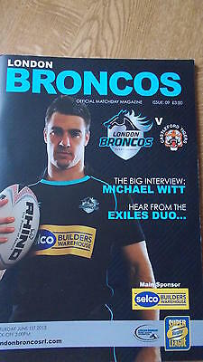 1.6.13 London Broncos v Castleford Tigers programme