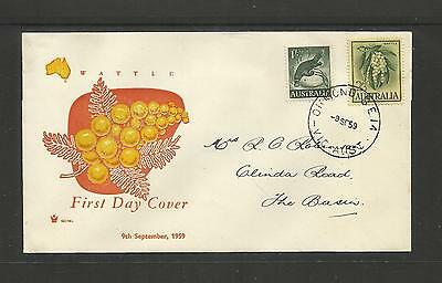 AUSTRALIA FDC FIRST DAY COVER ~ 1959 PLATYPUS 1/- & WATTLE 2/3d