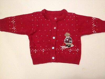 Christmas Sweater Baby Girl boy Cardigan Red Size 12 Months Snow ski holiday