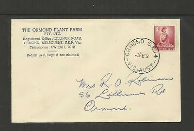 AUSTRALIA FDC FIRST DAY COVER ~ 1959 QE II 1d & 4d DEFINITIVES