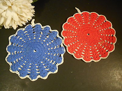 Pair Vintage Handmade Double Crocheted Red Blue Hot Pad Pot Holders Oven Mitts