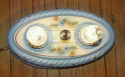 Antique Vintage porcelain Porcelier 2 bulb flush mount ceiling light fixture