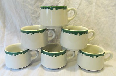Vintage Shenango China Green Border RimRol WelRoc 7 Coffee Cups REDUCED