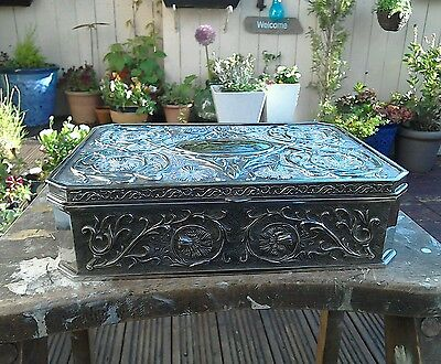 Vintage Large Heave Silver Plated Jewellery Box